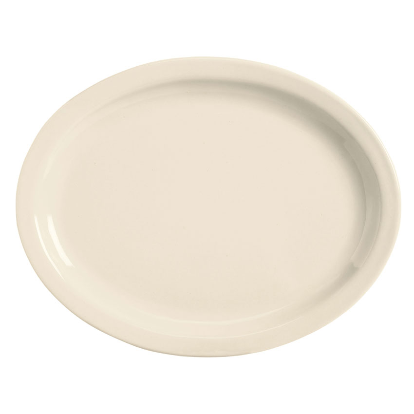 World Tableware BNR-12-CW Cream White Narrow Rim Platter, Tenacity, Oval