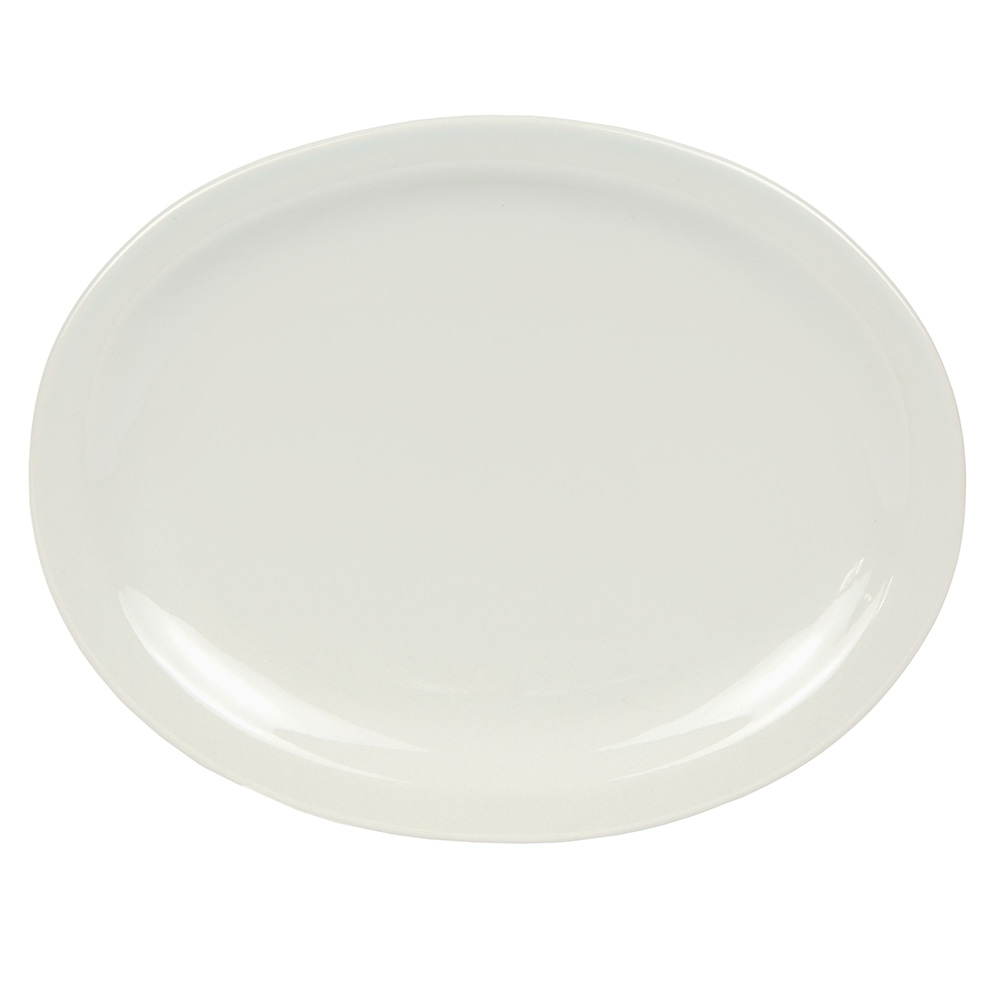 World Tableware BNR-13-CW Cream White Narrow Rim Platter, Tenacity, Oval