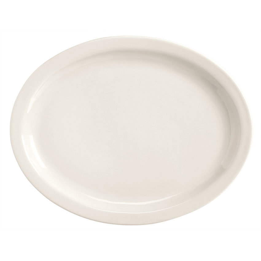 World Tableware BNR-14-BW Bright White Narrow Rim Platter, Tenacity, Oval