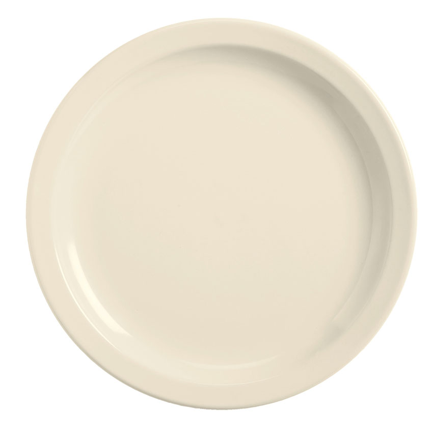 World Tableware BNR-5-CW Cream White Narrow Rim Plate, Tenacity, Round