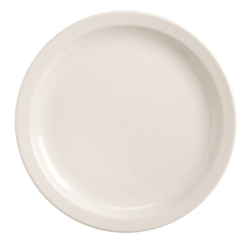 World Tableware BNR-7-BW Bright White Narrow Rim Plate, Tenacity, Round