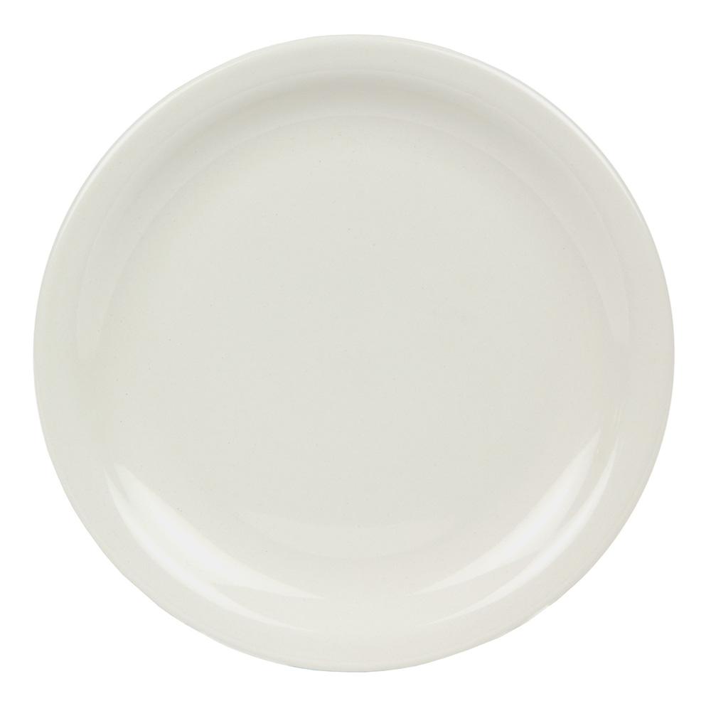 World Tableware BNR-8-CW Cream White Narrow Rim Plate, Tenacity, Round