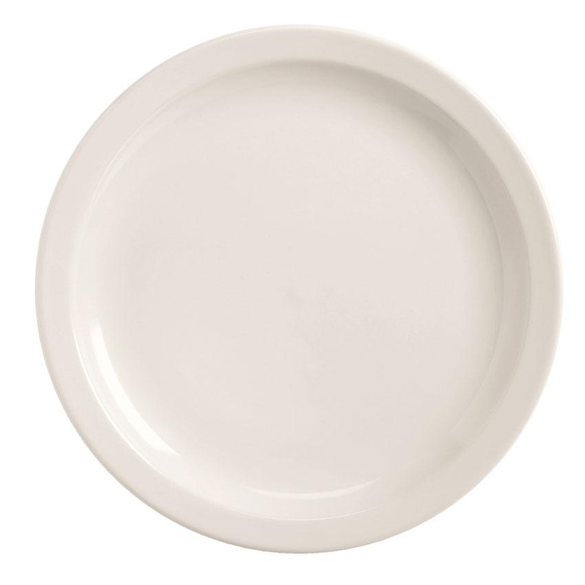 World Tableware BNR-9-BW Bright White Narrow Rim Plate, Tenacity, Round