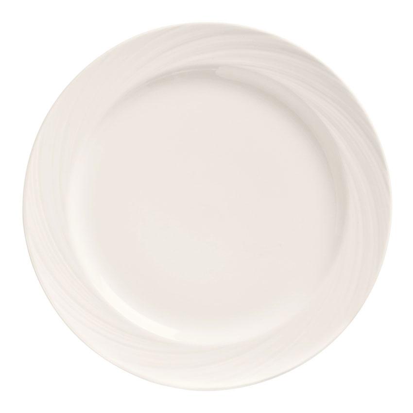 """World Tableware BO-1103 10-5/8"""" Basics Orbis Plate - Medium Rim, Porcelain, Bright White"""