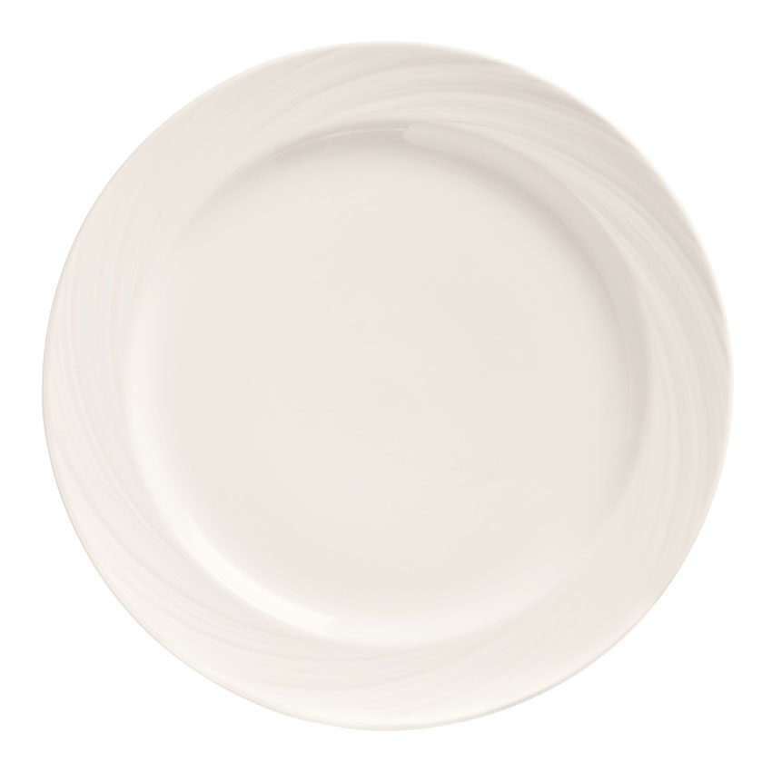 "World Tableware BO-1105 10"" Round Porcelain Plate w/ Wide Rim, Basics Collection"