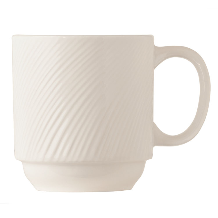 World Tableware BO-1114 11-1/2-oz Basics Orbis Mug - Stackable, Porcelain, Bright White