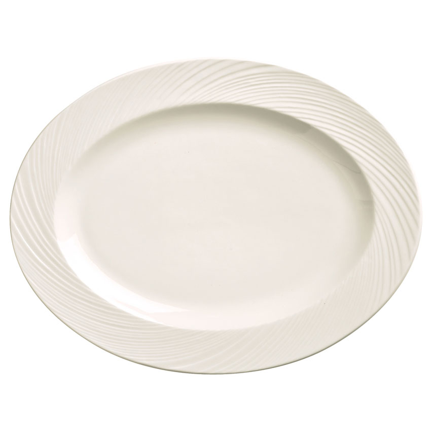 "World Tableware BO-1120 Oval Basics Orbis Platter - 11-1/2x8-3/4"" Porcelain, Bright White"