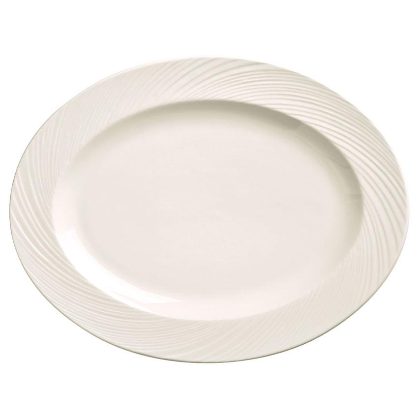 """World Tableware BO-1122 Oval Basics Orbis Platter - 13-1/4x10-1/4"""" Porcelain, Bright White"""