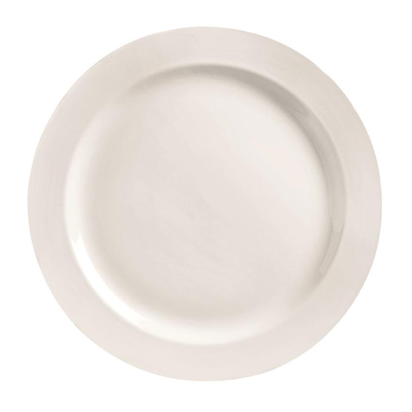 "World Tableware BW-1103 10.63"" Basics Plate - Medium Rim, Porcelain, Bright White"