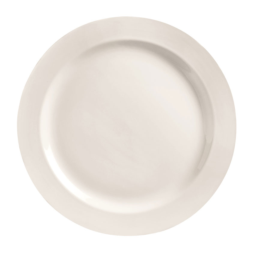 "World Tableware BW-1105 10"" Plate - Round, Medium Rim, Porcelain, Bright White"