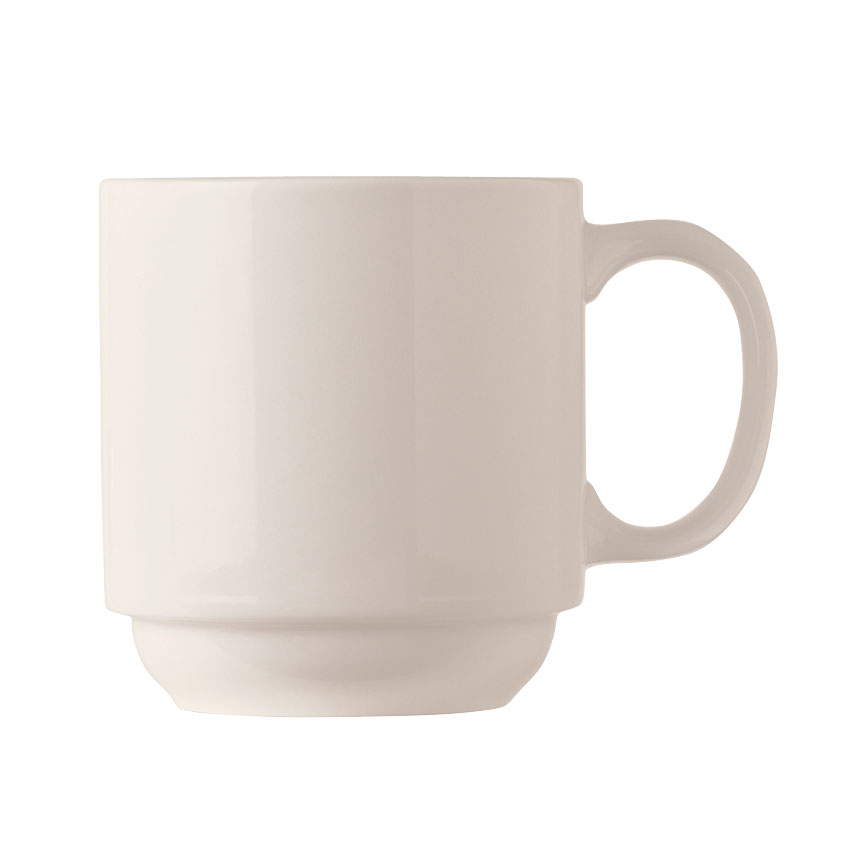 World Tableware BW-1114 11-1/2-oz Basics Stackable Mug - Porcelain, Bright White
