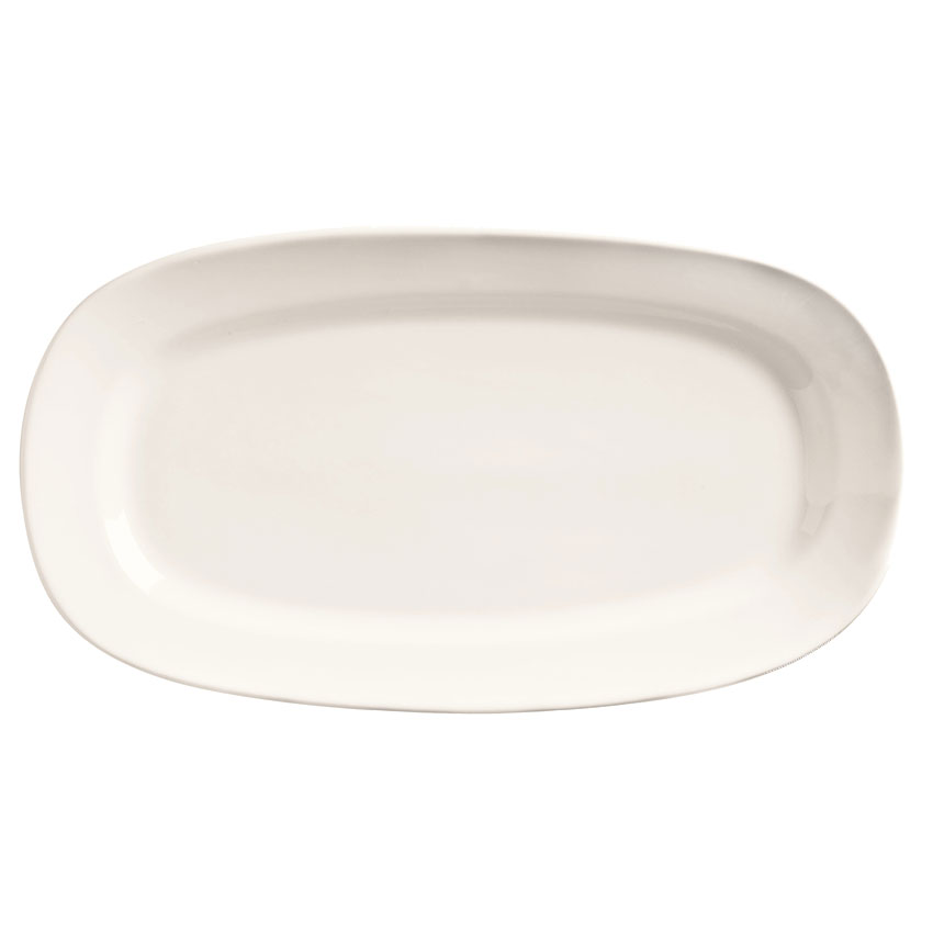 "World Tableware BW-1125 10"" Porcelain Oblong Racetrack Platter, Basics Collection"