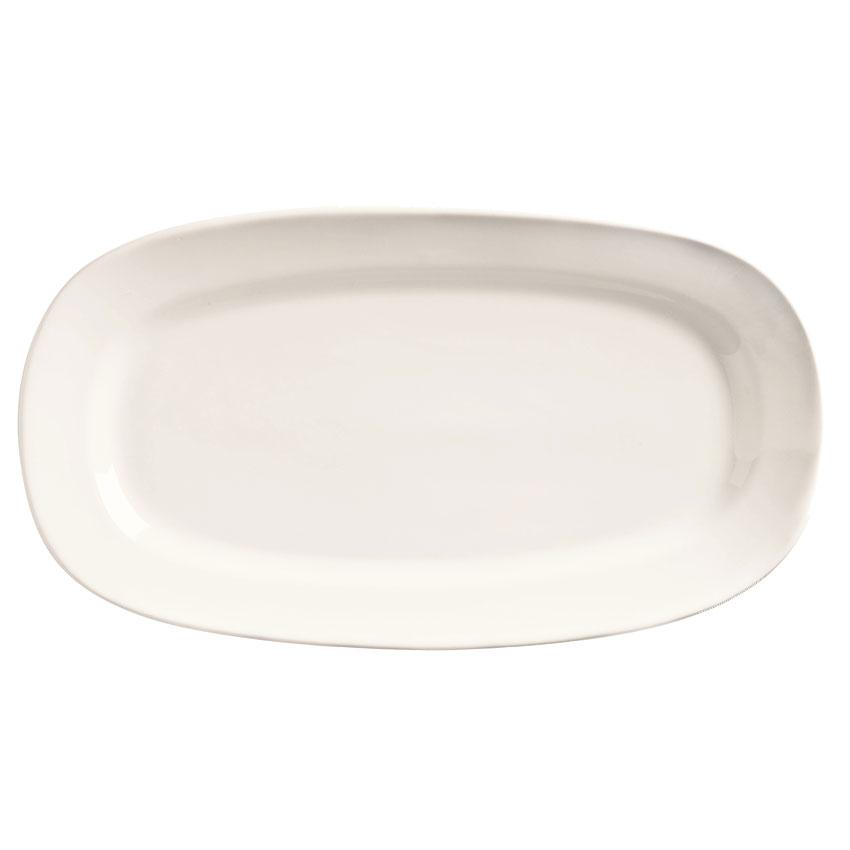 "World Tableware BW-1126 12"" Porcelain Oblong Racetrack Platter, Basics Collection"