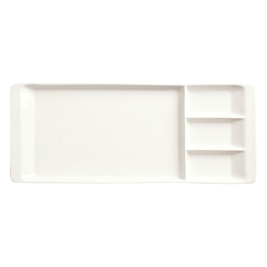 "World Tableware BW-3331 Chef's Selection Rectangular Tray - 15-1/4x6-1/4"" Porcelain, Ultra Bright White"
