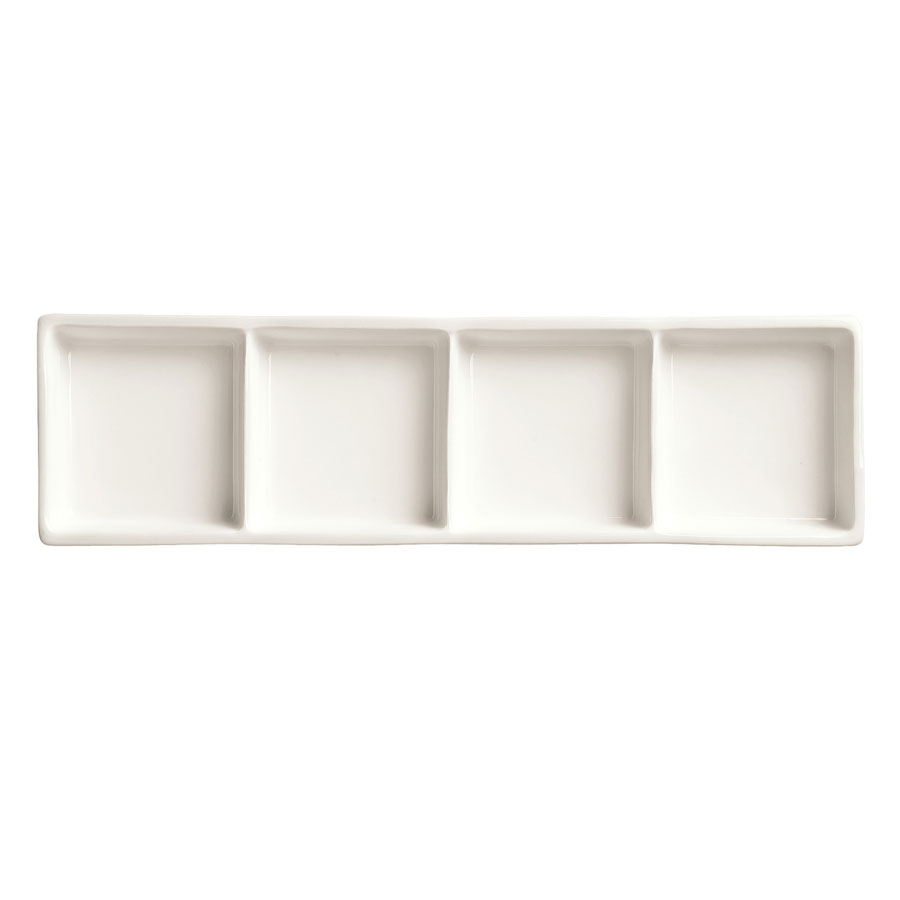 "World Tableware BW-4444 Chef's Selection Rectangular Tray - 10-5/8x3-1/4"" Porcelain, Ultra Bright White"