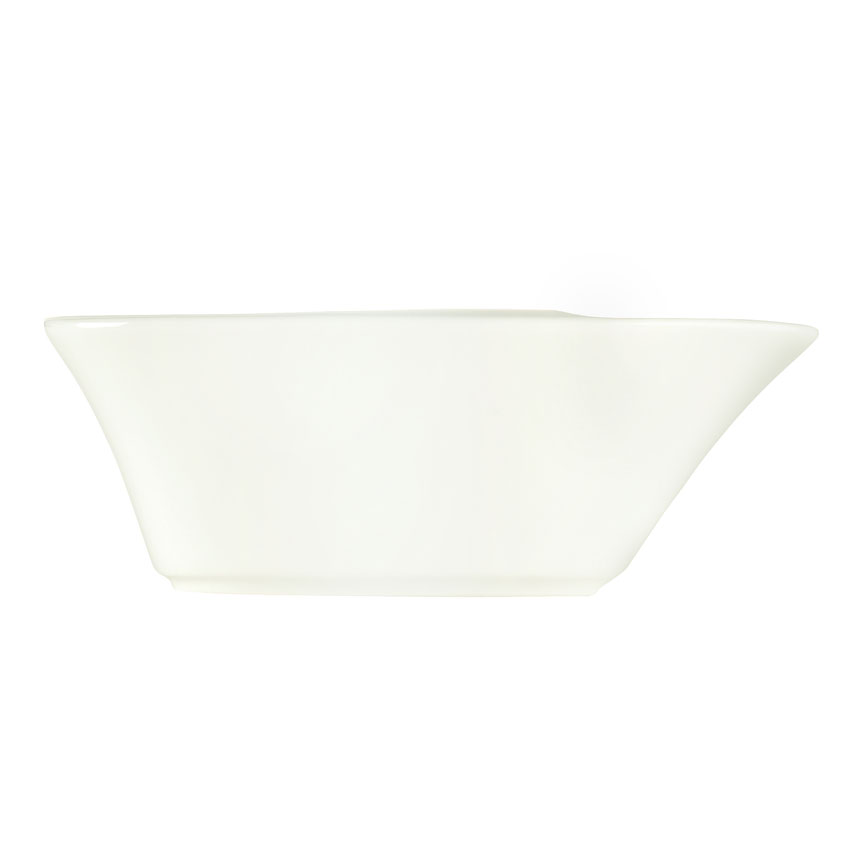 "World Tableware BW-5215 6-3/4"" Bar Snack Dispenser - Boat-Shaped, Porcelain, Ultra Bright White"