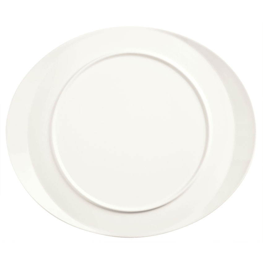 "World Tableware BW-6713 Chef's Selection Oval Monorail Plate - 13x11"" Porcelain, Ultra Bright White"