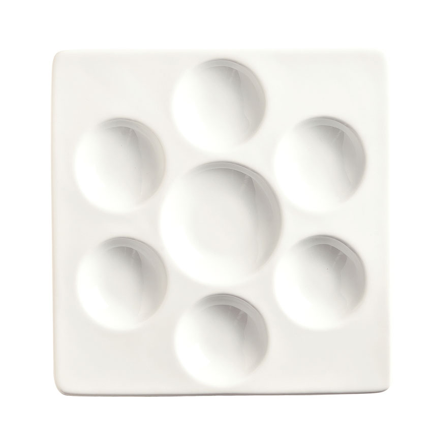 "World Tableware BW-6717 6-1/2"" Chef's Selection Square Escargot Tray - Porcelain, Ultra Bright White"
