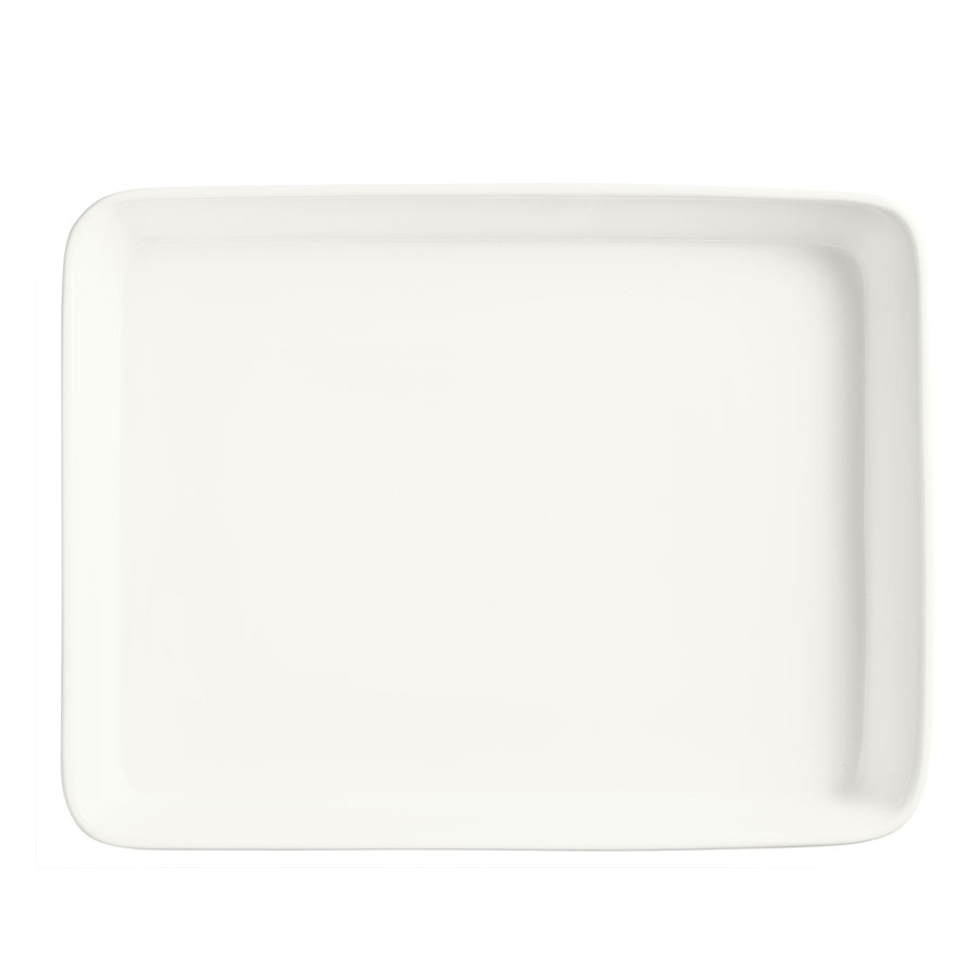 "World Tableware BW-9000 Chef's Selection Serving Pan - 15-1/4x12"" Ceramic, Ultra Bright White"
