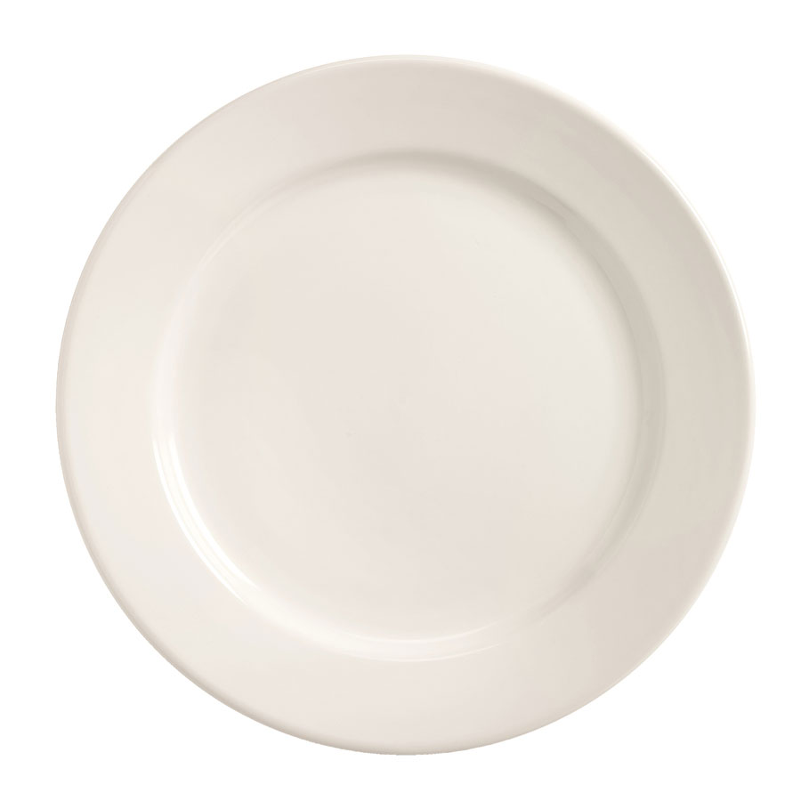 World Tableware BWR-8-BW Bright White Rolled Edge Plate, Tenacity, Round