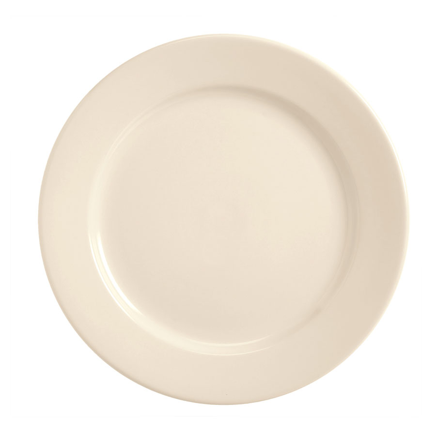 World Tableware BWR-8-CW Cream White Rolled Edge Plate, Tenacity, Round
