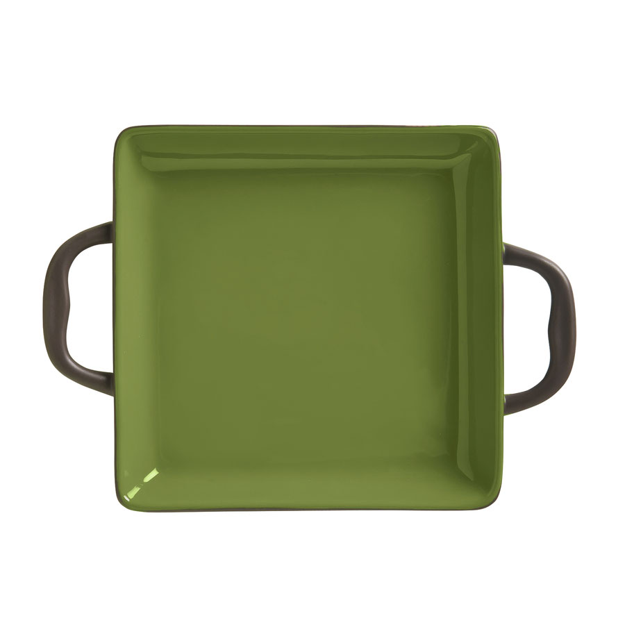 World Tableware CBO-001 3-1/2-oz Coos Bay Square Tray with Handles - Ceramic, Olive