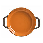 World Tableware CBP-001 3-oz Coos Bay Round Tray with Handles - Ceramic, Pumpkin