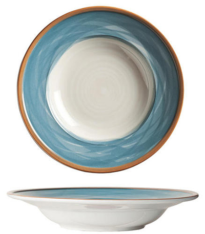 "World Tableware CCB-10310 12-1/2""  Pasta Bowl - Ceramic, Blue, Terra Cotta Rim, 22 oz"