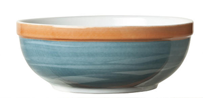"World Tableware CCB-20145 5-3/4"" Oatmeal Bowl - Ceramic, Blue, Terra Cotta Rim, 19-1/2 oz"