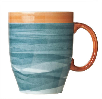 World Tableware CCB-30380 13-1/4 oz Mug - Ceramic, Blue, Terra Cotta Rim, 4-3/8""