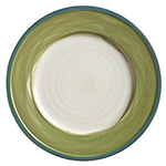 "World Tableware CCG-10170 6-1/2"" Plate - Ceramic, Green, Blue Rim"