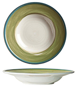 "World Tableware CCG-10310 12-1/4"" Pasta Bowl - Ceramic, Green, Blue Rim"