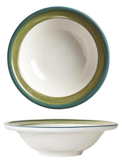 "World Tableware CCG-20155 6-3/8"" Oatmeal Bowl - Ceramic, Green, Blue Rim, 8 oz"