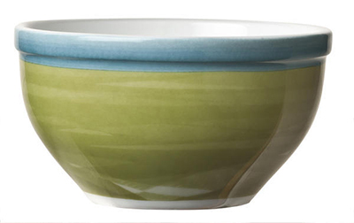 "World Tableware CCG-30250 4-1/8"" Bouillon Bowl - Ceramic, Green, Blue Rim, 9-1/4 oz"