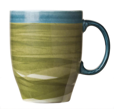World Tableware CCG-30380 13-1/4 oz Mug - Ceramic, Green, Blue Rim, 4-3/8""