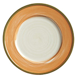 "World Tableware CCT-10235 9"" Round Plate - Ceramic, Terra Cotta, Green Rim"