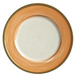 "World Tableware CCT-10270 10-3/4"" Round Plate - Ceramic, Terra Cotta, Green Rim"
