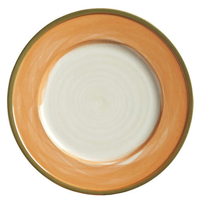 "World Tableware CCT-10270 10-3/4"" Round Plate - Ceramic, Terra Cotta, Green Rim"