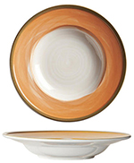 "World Tableware CCT-10310 12-1/4"" Pasta Bowl - Ceramic, Terra Cotta, Green Rim, 22-oz"