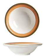 "World Tableware CCT-20155 6-3/8"" Grapefruit Bowl - Ceramic, Terra Cotta, Green Rim, 8-oz"