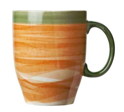 World Tableware CCT-30380 13-1/4 oz Mug - Ceramic, Non-Stackable, Terra Cotta, Green Rim, 4-3/8""