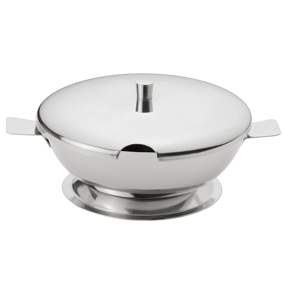 "World Tableware CHS-100 4.12"" Round Cheese Server w/ 10-oz Capacity & Lid, 18/8-Stainless"