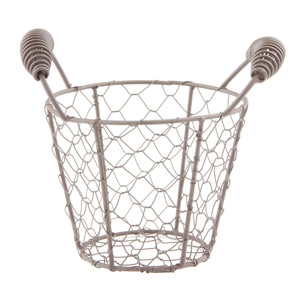 """World Tableware CWB-11 7"""" Round Wire Basket/Pail - Brown"""