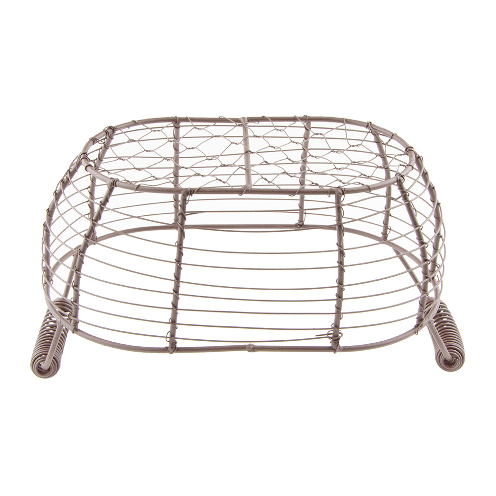 """World Tableware CWB-15 Oval Wire Bread Basket with Handles - 11-1/2x6-1/4"""" Brown"""