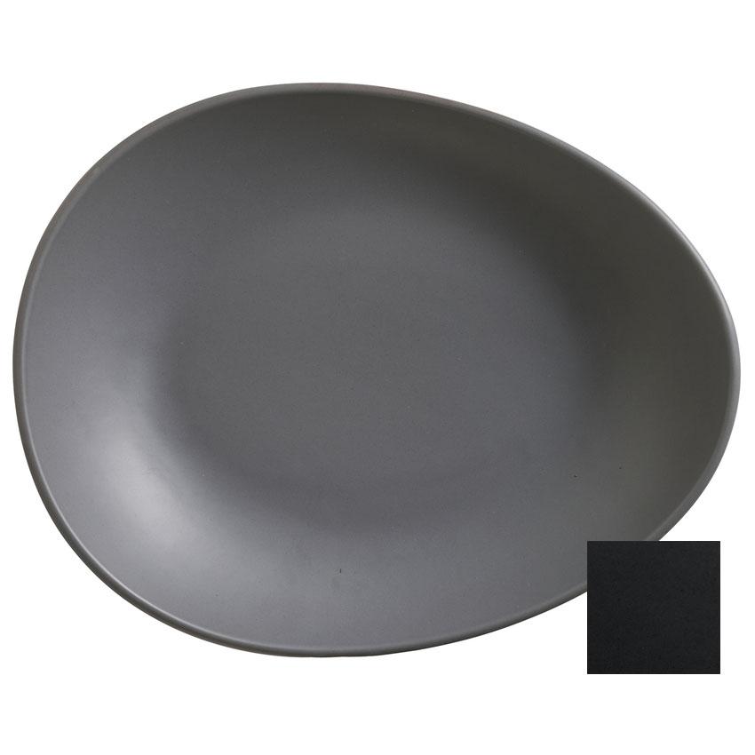 "World Tableware DRI-7-O Organic-Shaped Driftstone Plate - 10.88"" x 8.5"", Porcelain, Onyx"