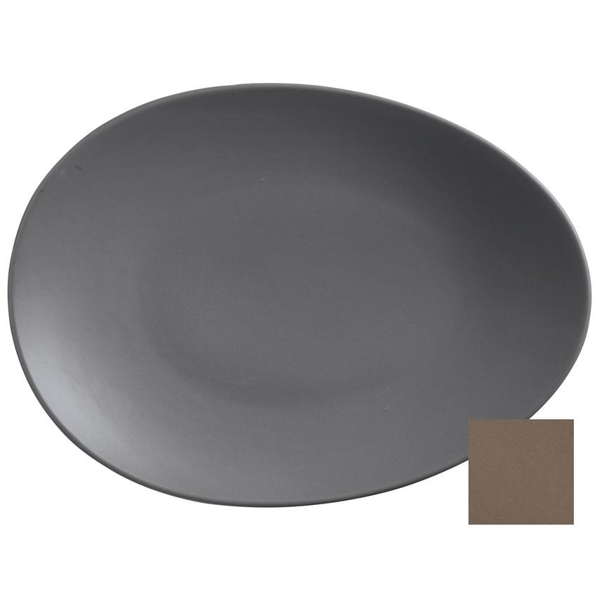"World Tableware DRI-8-S Organic-Shaped Driftstone Plate - 13.75"" x 10.13"", Porcelain, Sand"
