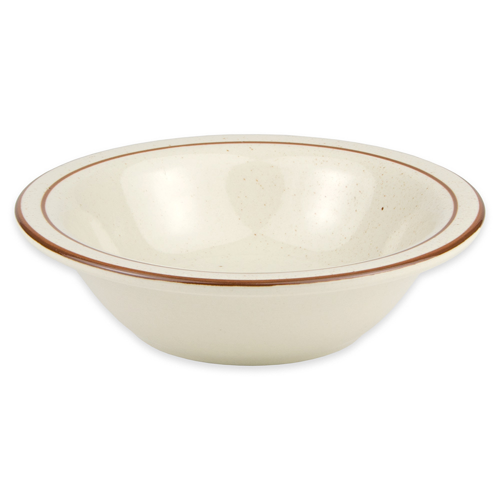 "World Tableware DSD-10 6.625"" Desert Sand Grapefruit Bowl - Speckled, (2) Brown Bands"