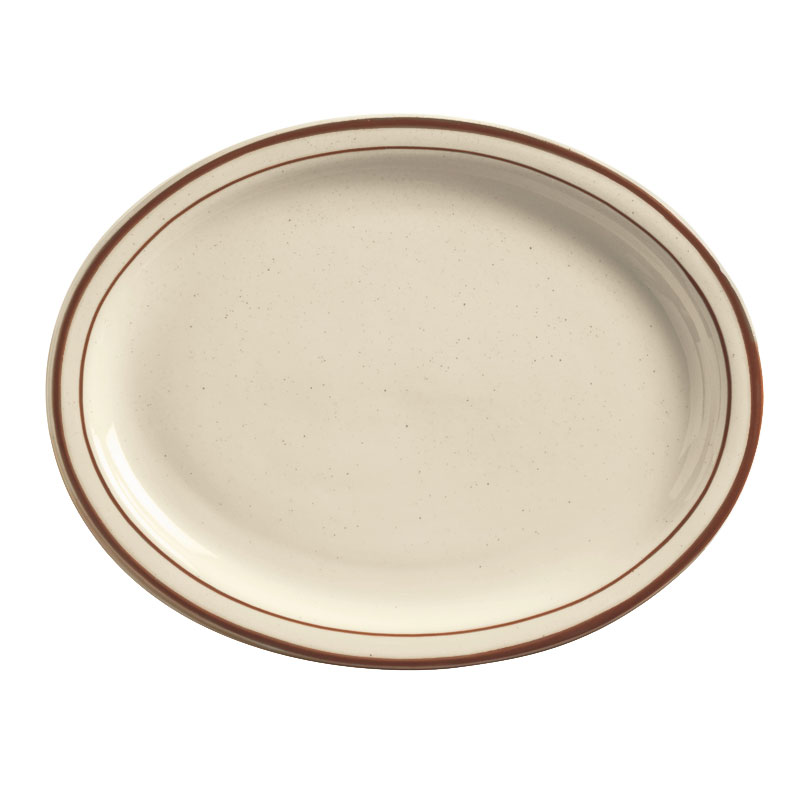 World Tableware DSD-12 Desert Sand Platter - Speckled, (2) Brown Bands
