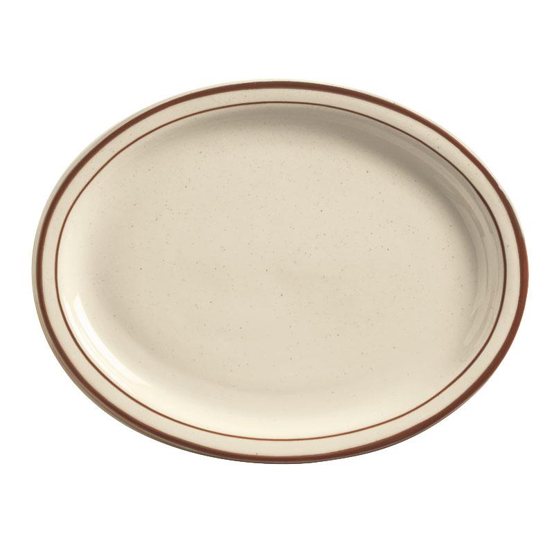 World Tableware DSD-14 Desert Sand Platter - Speckled, (2) Brown Bands