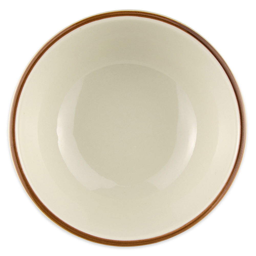 "World Tableware DSD-15 5.625"" Desert Sand Oatmeal Bowl - Speckled, (1) Brown Bands"